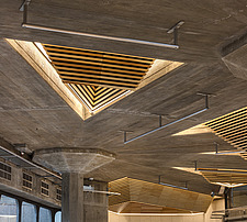 The restored triangular roof lights of the Queen Elizabeth Hall foyer, the restored Purcell Room at the Queen Elizabeth Hall, Southbank Centre, London - ARC103621