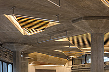 The restored triangular roof lights of the Queen Elizabeth Hall foyer, the restored Purcell Room at the Queen Elizabeth Hall, Southbank Centre, London - ARC103622