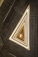 The restored triangular roof lights of the Queen Elizabeth Hall foyer, the restored Purcell Room at the Queen Elizabeth Hall, Southbank Centre, London - ARC103628