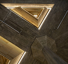 The restored triangular roof lights of the Queen Elizabeth Hall foyer, the restored Purcell Room at the Queen Elizabeth Hall, Southbank Centre, London - ARC103629