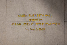 Commemorative opening sign in the restored Queen Elizabeth Hall, Southbank Centre, London - ARC103632