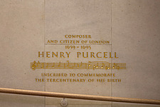 Henry Purcell commemorative sign in the restored Queen Elizabeth Hall, Southbank Centre, London - ARC103639