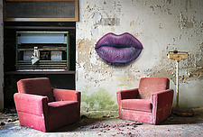 Chairs with lips on the wall in an abandoned hospital in Germany - ARC104510