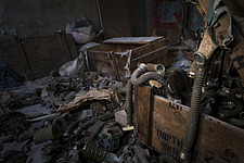 Gas masks in a room on the top floor of an abandoned school in Pripyat, Chernobyl - ARC104517
