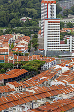 Aerial view of shophouses at Tanjong Pagar Conservation District, Singapore - ARC104559