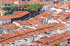 Aerial view of shophouses at Tanjong Pagar Conservation District, Singapore - ARC104565