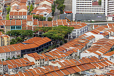 Aerial view of shophouses at Tanjong Pagar Conservation District, Singapore - ARC104566