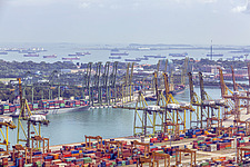 Aerial view of Port of Singapore, Tanjong Pagar - ARC104573