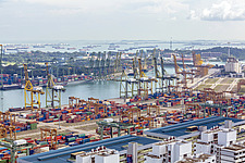 Aerial view of Port of Singapore, Tanjong Pagar - ARC104583