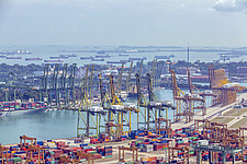 Aerial view of Port of Singapore, Tanjong Pagar - ARC104590