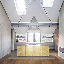 Bespoke brass kitchen of a refurbished top floor flat of a large detached Victorian property and attic conversion including new dormer extension to fo... - ARC105672