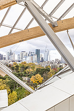 View of Paris skyscrapers from the top of the Fondation Louis Vuitton by Frank Gehry completed in 2014 - ARC105637