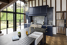 Kitchen in a converted barn/mill in Essex, UK, featuring beautful steel windows - ARC105862