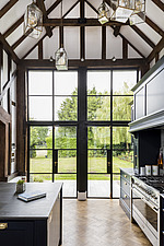 Kitchen in a converted barn/mill in Essex, UK, featuring beautful steel windows - ARC105863