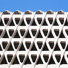 Exterior of Welbeck Street car park in central London, UK, built in 1970 for department store, Debenhams - ARC106620