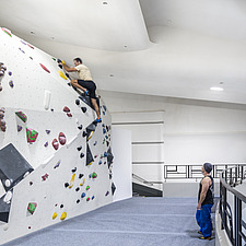 The Arch Climbing Wall, a former Art Deco- style cinema built in the 1930s, originally called Dominion, reused as climbing centre in Acton, London - ARC106894