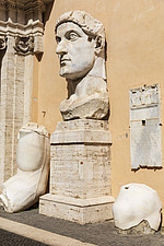 Fragments of the 4th century AD colossal statue of Constantine the Great, Palazzo dei Conservatori, Capitoline Museums, Rome, Italy - ARC106967