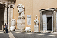 Fragments of the 4th century AD colossal statue of Constantine the Great in the courtyard of the Palazzo dei Conservatori, Capitoline Museums, Rome, I... - ARC106972