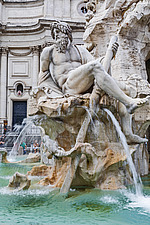 Statue of the Ganges, Fountain of the Four Rivers in Piazza Navona, Rome, Italy - ARC106973