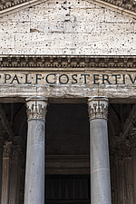 Exterior detail of front columns and pediment, the Pantheon, Rome, Italy - ARC106974