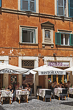 Outdoor tables at a traditional restaurant in Rome, Italy - ARC106981