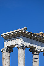 Corner detail of the Ionic capitals on the surviving columns of the Temple of Saturn, Roman Forum, Rome, Italy - ARC106986