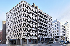 Exterior of Welbeck Street car park in central London, UK, built in 1970 for department store, Debenhams - ARC107188