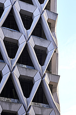 Exterior of Welbeck Street car park in central London, UK, built in 1970 for department store, Debenhams - ARC107192