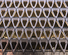 Exterior of Welbeck Street car park in central London, UK, built in 1970 for department store, Debenhams - ARC107201