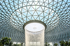 The Jewel Changi Airport in Singapore, a mixed use development complex featuring a rain vortex, the largest indoor waterfall in the world in 2019 - ARC107941