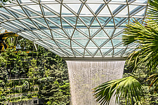 The Jewel Changi Airport in Singapore, a mixed use development complex featuring a rain vortex, the largest indoor waterfall in the world in 2019 - ARC107950