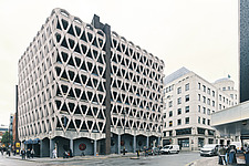 Exterior of Welbeck Street car park in central London, UK, built in 1970 for department store, Debenhams - ARC108147