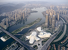 Aerial view of the Changsha Meixihu International Culture and Art Centre in Changsha, the capital of the Hunan province in China - ARC108302