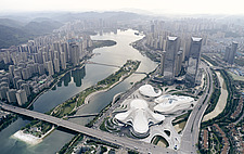 Aerial view of the Changsha Meixihu International Culture and Art Centre in Changsha, the capital of the Hunan province in China - ARC108303