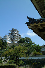 Himeji Castle, Himeji, Japan  - Roof detail foreground, full view of castle in  background - 10625-50-1